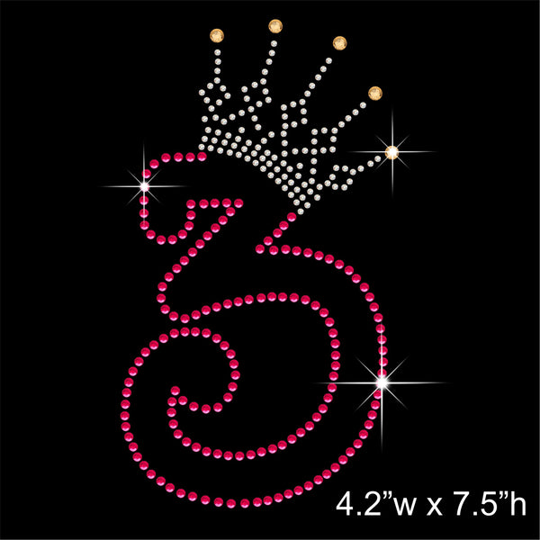 3 and Crown - Birthday Hotfix Rhinestone Transfer Diamante Motif, Iron on Applique