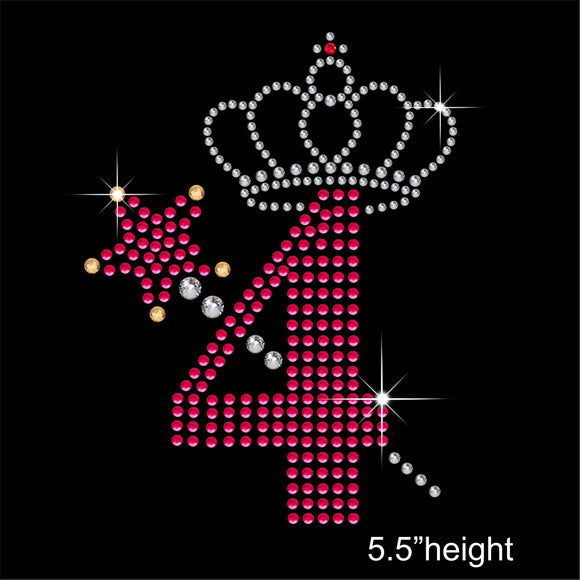 4 with Crown and Wand - Birthday Hotfix Rhinestone Transfer Diamante Motif, Iron on Applique