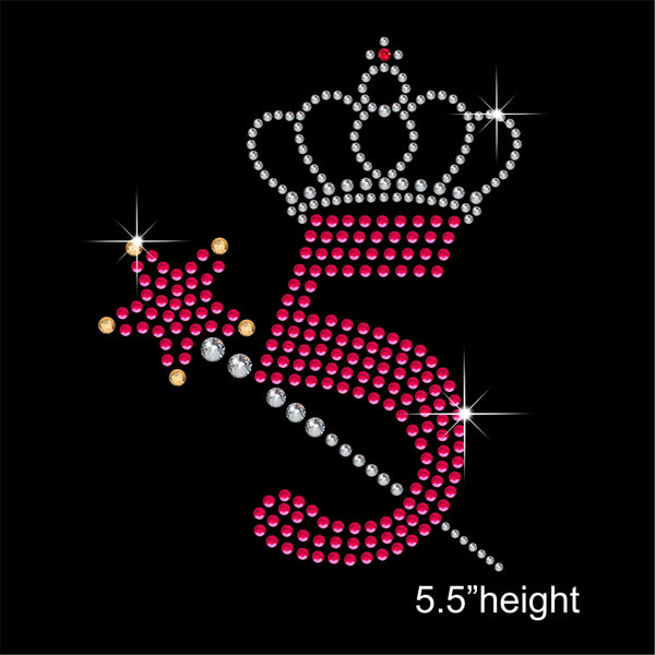 5 with Crown and Wand - Birthday Hotfix Rhinestone Transfer Diamante Motif, Iron on Applique