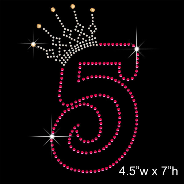 5 and Crown - Birthday Hotfix Rhinestone Transfer Diamante Motif, Iron on Applique