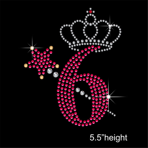 6 with Crown and Wand - Birthday Hotfix Rhinestone Transfer Diamante Motif, Iron on Applique
