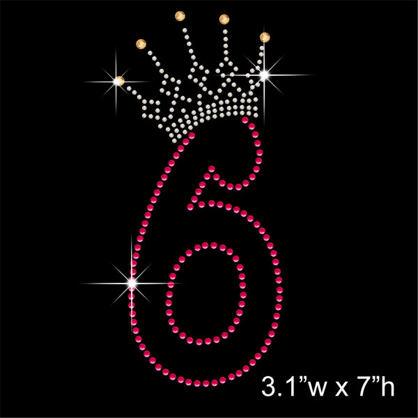 6 and Crown - Birthday Hotfix Rhinestone Transfer Diamante Motif, Iron on Applique