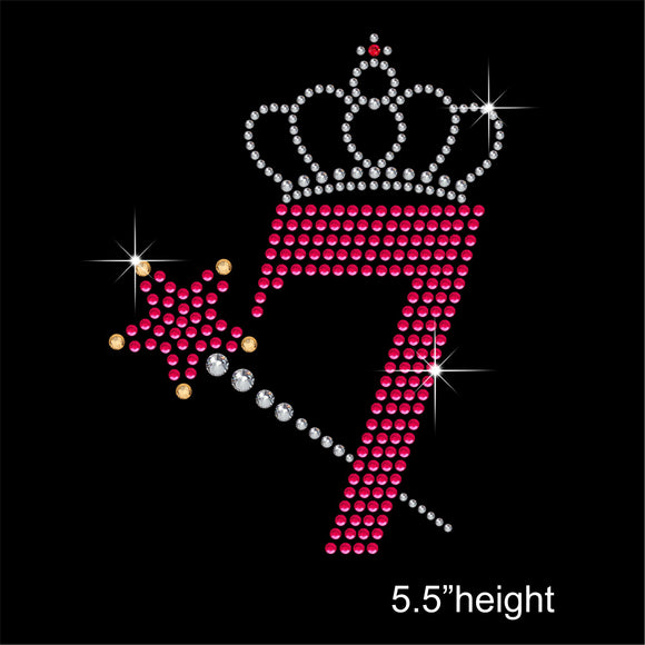 7 with Crown and Wand - Birthday Hotfix Rhinestone Transfer Diamante Motif, Iron on Applique