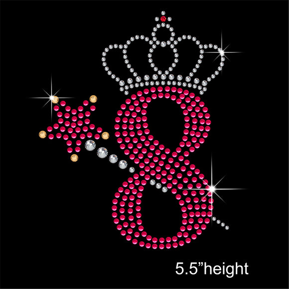 8 with Crown and Wand - Birthday Hotfix Rhinestone Transfer Diamante Motif, Iron on Applique
