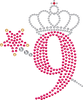 9 with Crown and Wand - Birthday Hotfix Rhinestone Transfer Diamante Motif, Iron on Applique