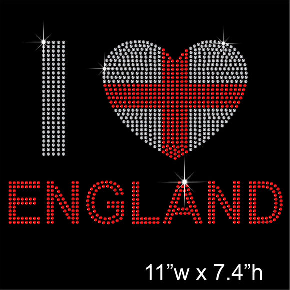 I LOVE ENGLAND Hotfix Rhinestone Transfer Diamante Motif, Iron-on Applique