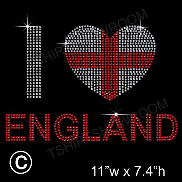 I LOVE ENGLAND Hotfix Rhinestone Transfer Diamante Motif, Iron on Applique