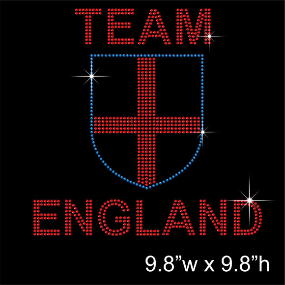 TEAM ENGLAND Hotfix Rhinestone Transfer Diamante Motif, Iron-on Applique