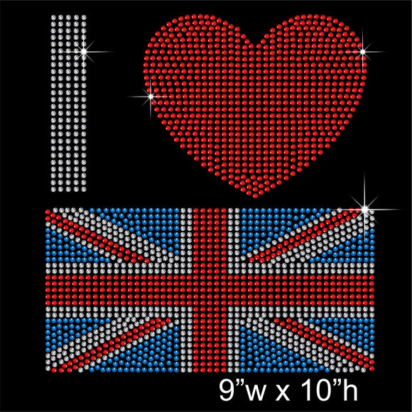 I love GB Hotfix Rhinestone Transfer Diamante Motif, Iron-on Applique