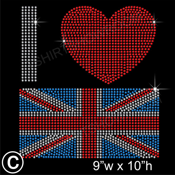 I Love GB Union Jack Hotfix Rhinestone Transfer Diamante Motif, Iron on Applique