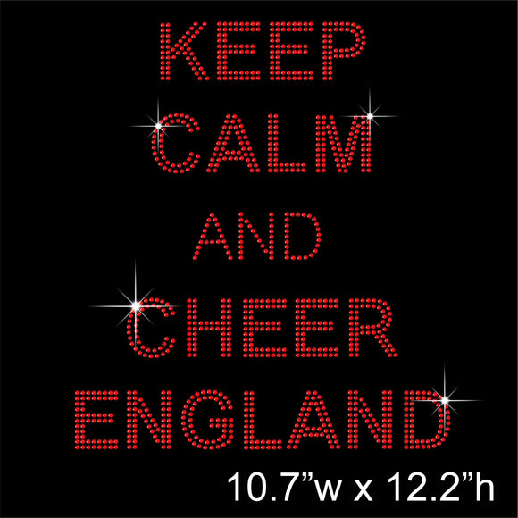 KEEP CALM AND CHEER ENGLAND Hotfix Rhinestone Transfer Diamante Motif, Iron-on Applique