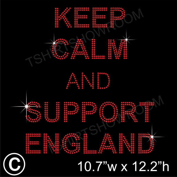 KEEP CALM AND SUPPORT ENGLAND Hotfix Rhinestone Transfer Diamante Motif, Iron on Applique