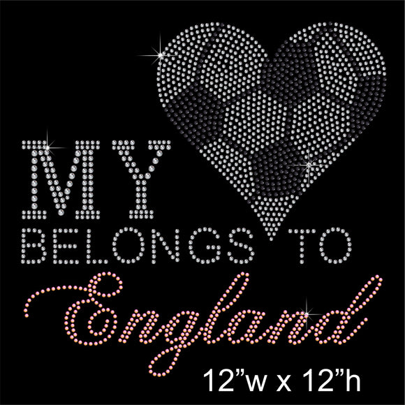 MY HEART BELONGS TO ENGLAND Hotfix Rhinestone Transfer Diamante Motif, Iron-on Applique