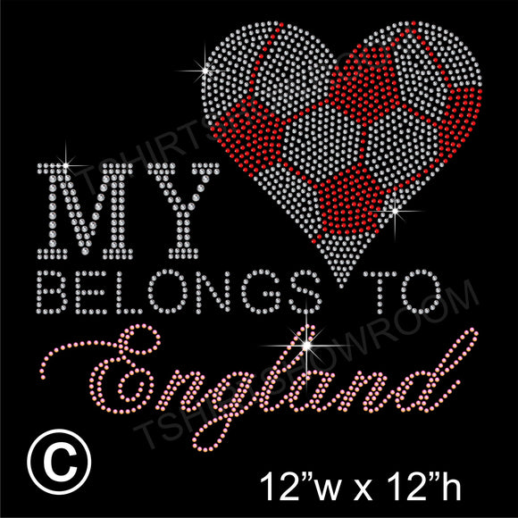 MY HEART BELONGS TO ENGLAND Hotfix Rhinestone Transfer Diamante Motif, Iron on Applique