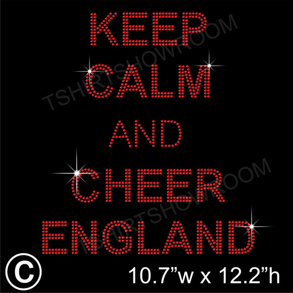 KEEP CALM AND CHEER ENGLAND Hotfix Rhinestone Transfer Diamante Motif, Iron on Applique