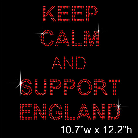 KEEP CALM AND SUPPORT ENGLAND Hotfix Rhinestone Transfer Diamante Motif, Iron-on Applique