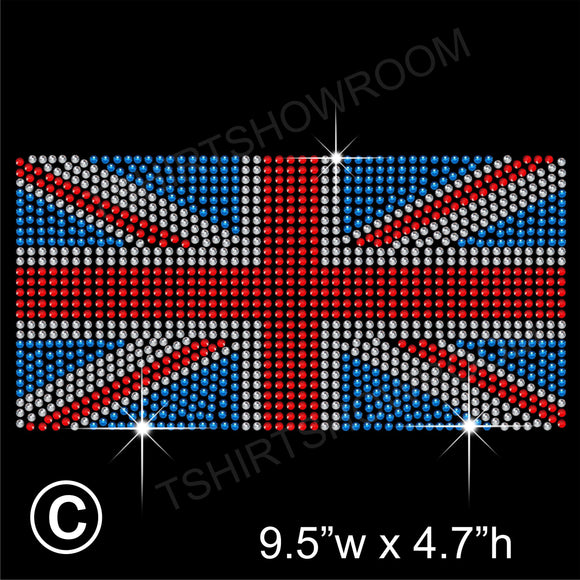 UK FLAG UNION JACK Hotfix Rhinestone Transfer Diamante Motif, Iron-on Applique