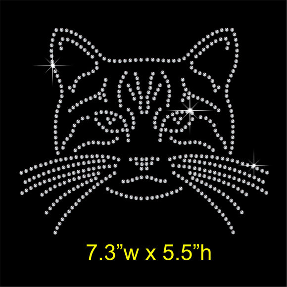 Cat face Hotfix Rhinestone Transfer Diamante Motif, Iron-on Applique