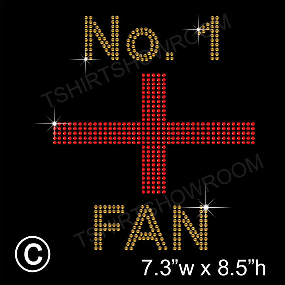 NO. 1 ENGLAND FAN Hotfix Rhinestone Transfer Diamante Motif, Iron-on Applique