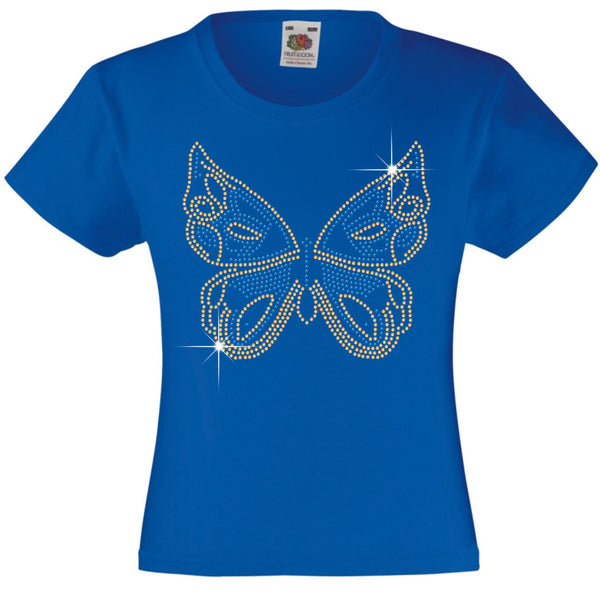 BUTTERFLY GIRLS T SHIRT RHINESTONE EMBELLISHED T-SHIRT ELEGANT GIFT FOR ANIMAL LOVING GIRLS