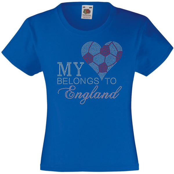 MY HEART BELONGS TO ENGLAND RHINESTONE EMBELLISHED T-SHIRT ELEGANT GIFT FOR GIRLS