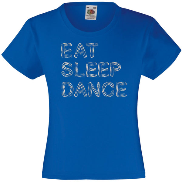 EAT SLEEP DANCE RHINESTONE EMBELLISHED T-SHIRT ELEGANT GIFT FOR GIRLS