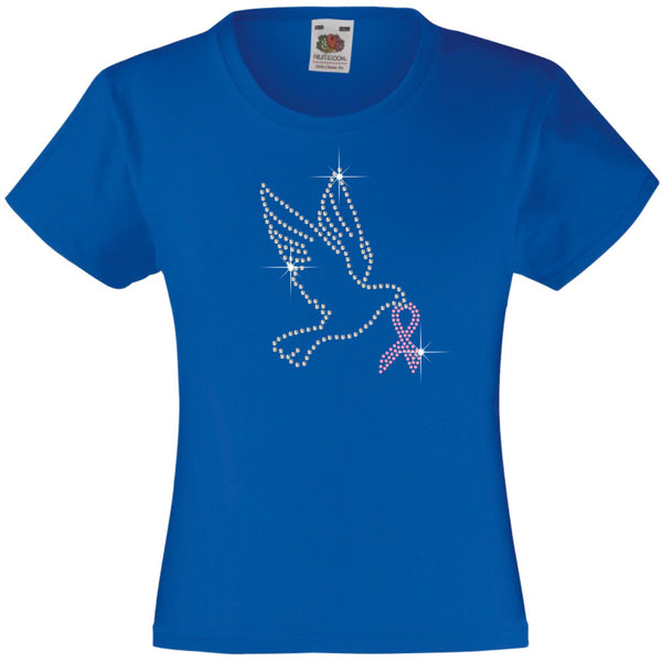 DOVE WITH PINK RIBBON RHINESTONE EMBELLISHED T-SHIRT ELEGANT GIFT FOR GIRLS