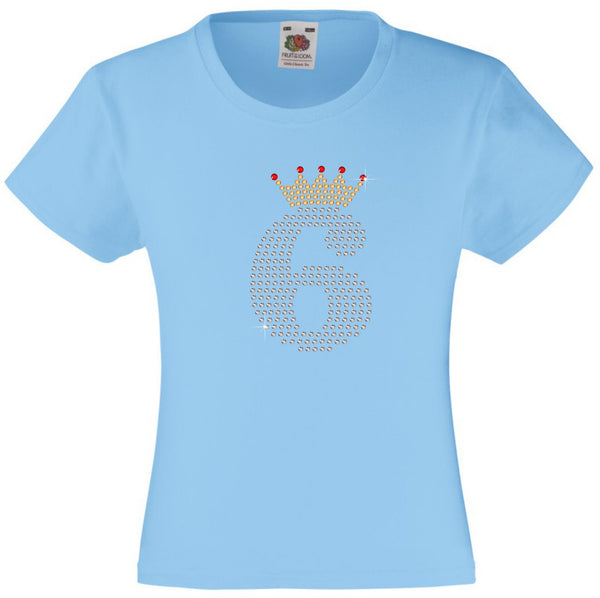NUMBER 6 IN CRYSTAL COLOUR WITH TIARA GIRLS T SHIRT, RHINESTONE EMBELLISHED BIRTHDAY T SHIRT, ELEGANT GIFT FOR THEIR BIG DAY