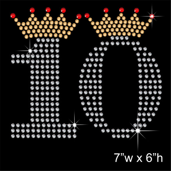 10 with Crown - Birthday Hotfix Rhinestone Transfer Diamante Motif, Iron on Applique
