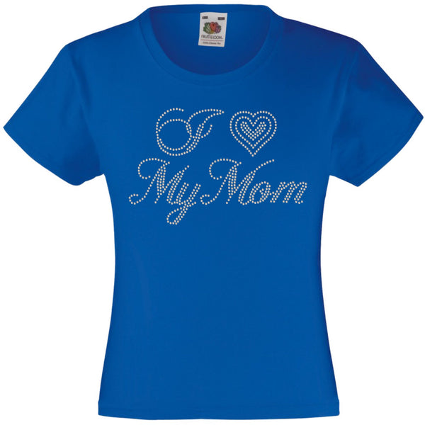I LOVE MY MOM RHINESTONE EMBELLISHED T SHIRT ELEGANT GIFT FOR GIRLS