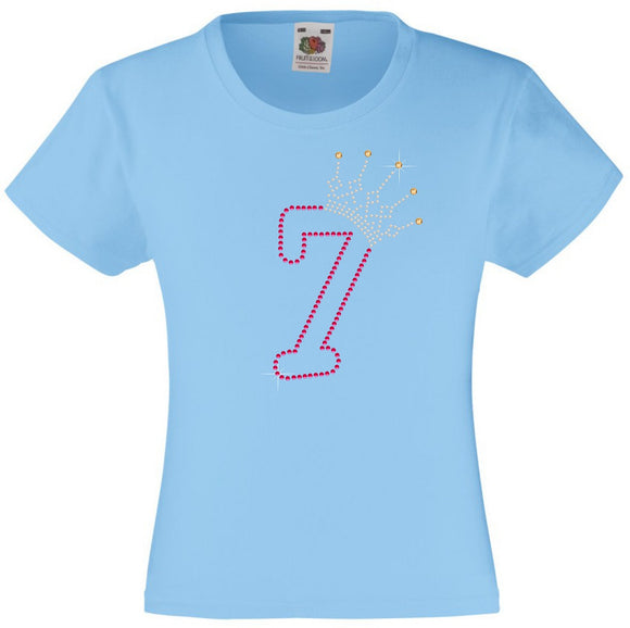 NUMBER 7 IN WITH CROWN GIRLS T SHIRT, RHINESTONE EMBELLISHED BIRTHDAY T SHIRT, ELEGANT GIFT FOR THEIR BIG DAY