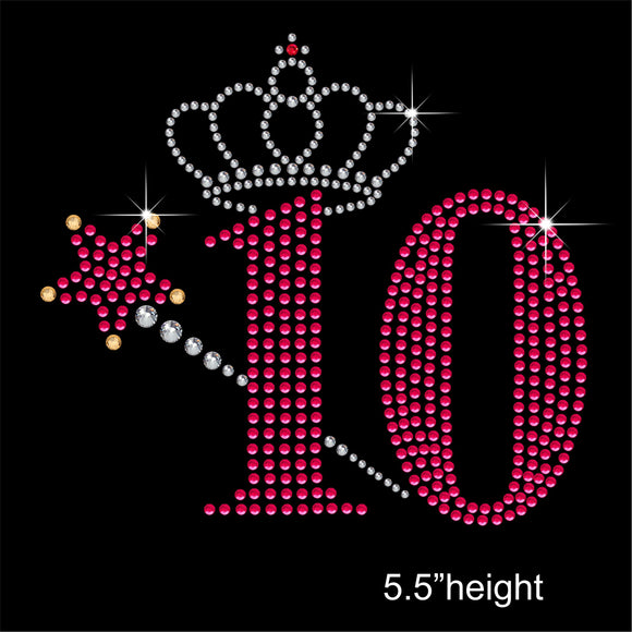 10 with Crown and Wand - Birthday Hotfix Rhinestone Transfer Diamante Motif, Iron on Applique