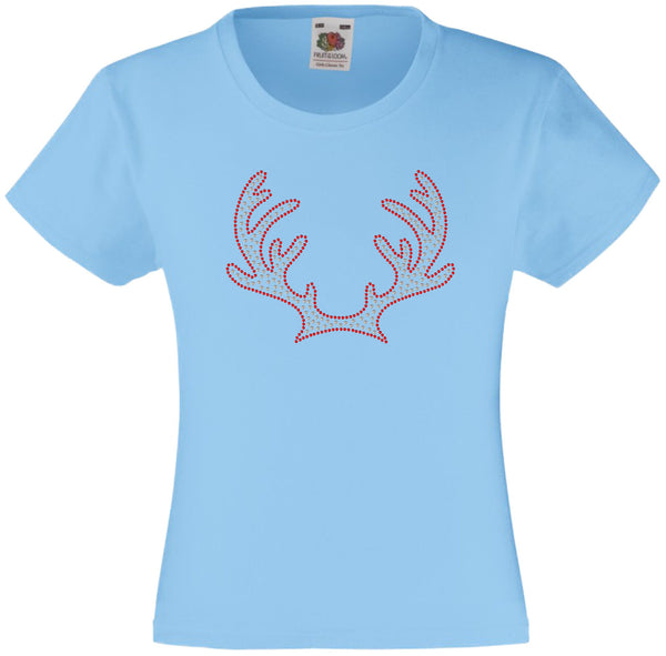 CHRISTMAS REINDEER ANTLERS RHINESTONE EMBELLISHED T SHIRT FOR GIRLS, ELEGANT GIFT FOR CHRISTMAS