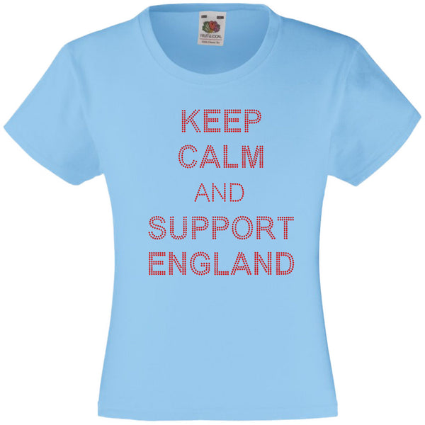 KEEP CALM AND SUPPPORT ENGLAND RHINESTONE EMBELLISHED T-SHIRT ELEGANT GIFT FOR GIRLS