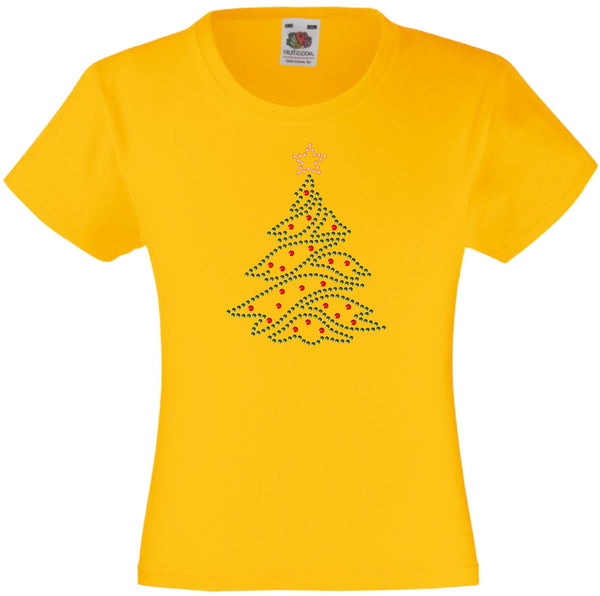 CHRISTMAS TREE RHINESTONE EMBELLISHED T-SHIRT FOR GIRLS, ELEGANT GIFT FOR CHRISTMAS