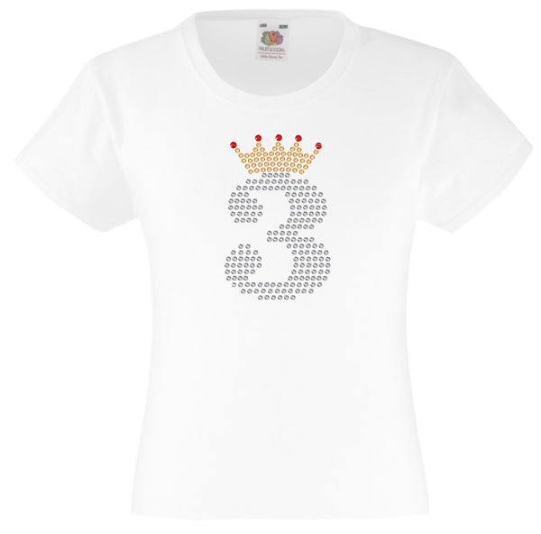 NUMBER 3 IN CRYSTAL COLOUR WITH TIARA GIRLS T SHIRT, RHINESTONE EMBELLISHED BIRTHDAY T SHIRT, ELEGANT GIFT FOR THEIR BIG DAY