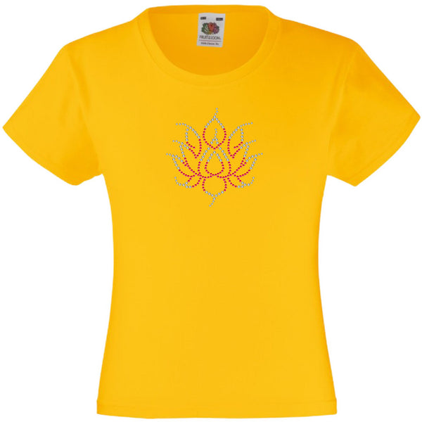 LOTUS FLOWER RHINESTONE EMBELLISHED T-SHIRT ELEGANT GIFT FOR GIRLS