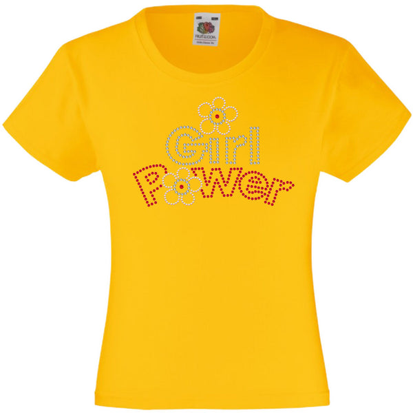 GIRL POWER RHINESTONE EMBELLISHED T-SHIRT ELEGANT GIFT FOR GIRLS