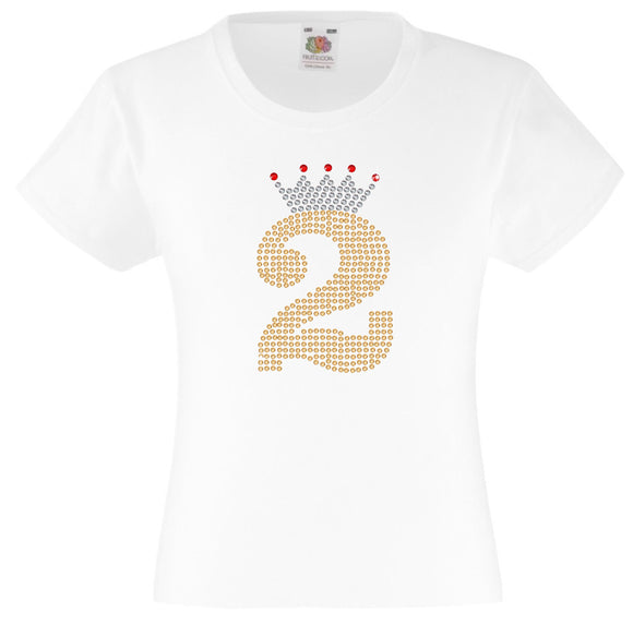 NUMBER 2 IN GOLD COLOUR WITH TIARA GIRLS T SHIRT, RHINESTONE EMBELLISHED BIRTHDAY T SHIRT, ELEGANT GIFT FOR THEIR BIG DAY