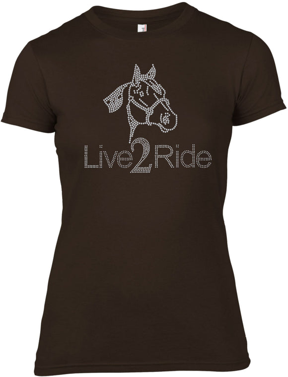 LOVE 2 RIDE HORSE RHINESTONE EMBELLISHED T-SHIRT FOR LADIES
