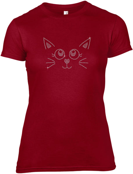 CAT FACE RHINESTONE EMBELLISHED T-SHIRT FOR LADIES