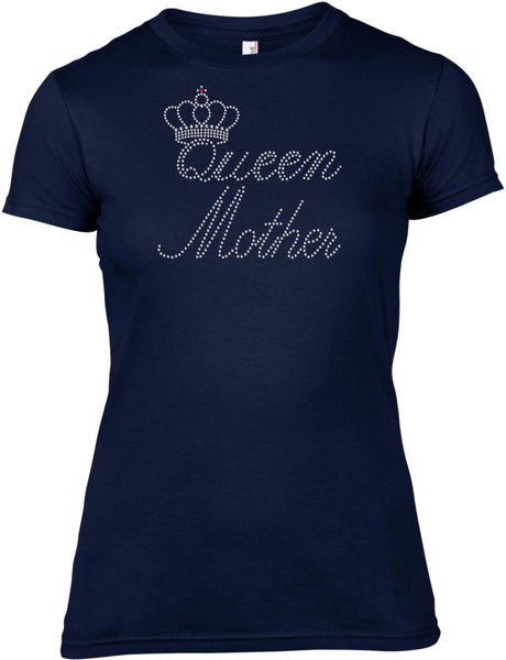 QUEEN MOTHER RHINESTONE EMBELLISHED T-SHIRT FOR LADIES