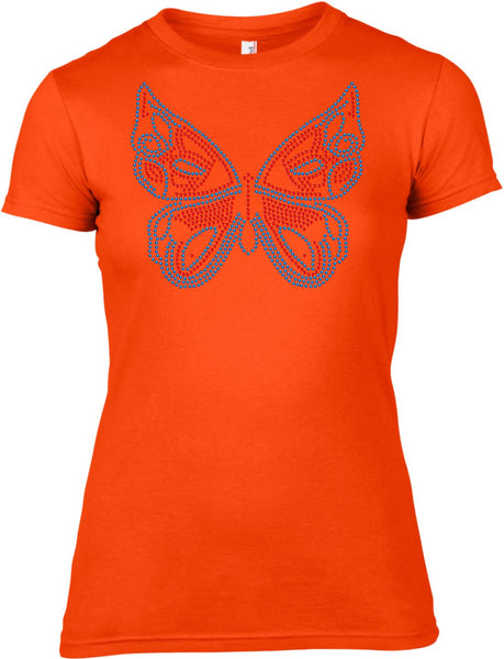 BUTTERFLY RHINESTONE EMBELLISHED T-SHIRT FOR LADIES