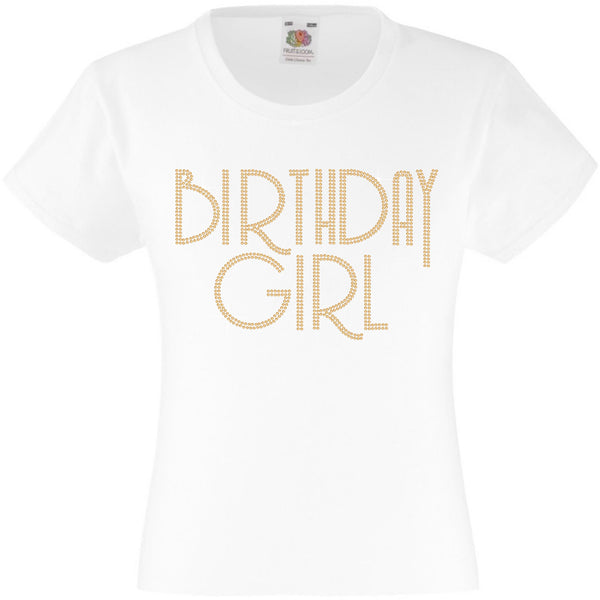 BIRTHDAY GIRL T SHIRT, RHINESTONE EMBELLISHED BIRTHDAY T SHIRT, ELEGANT GIFT FOR THEIR BIG DAY