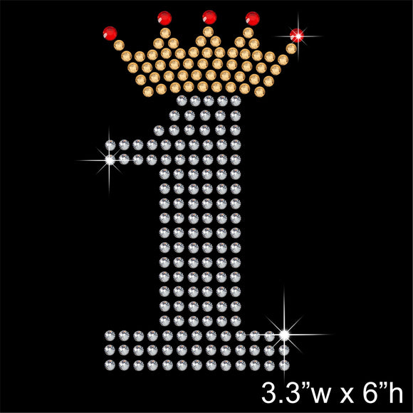 1 with Crown - Birthday Hotfix Rhinestone Transfer Diamante Motif, Iron on Applique
