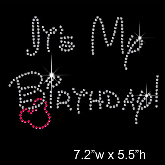 It's My Birthday Hotfix Rhinestone Transfer Diamante Motif, Iron on Applique