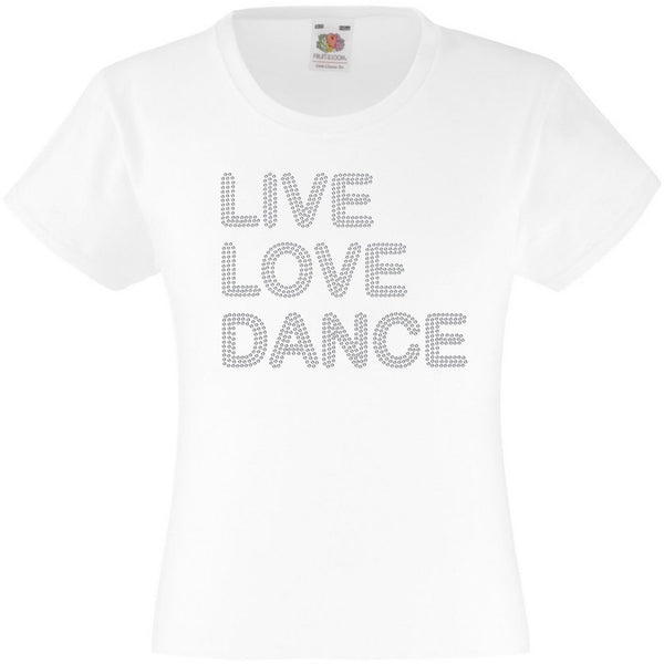 LIVE LOVE DANCE RHINESTONE EMBELLISHED T-SHIRT ELEGANT GIFT FOR GIRLS