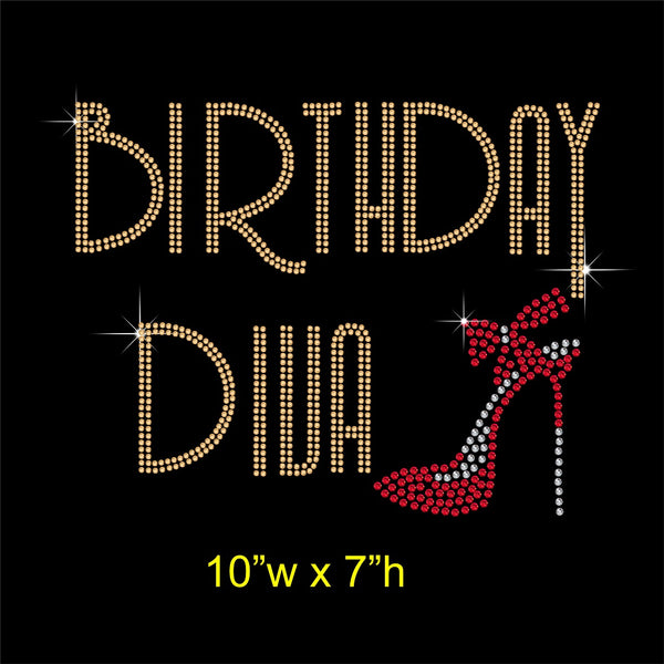 Birthday Diva Hotfix Rhinestone Transfer Diamante Motif, Iron on Applique
