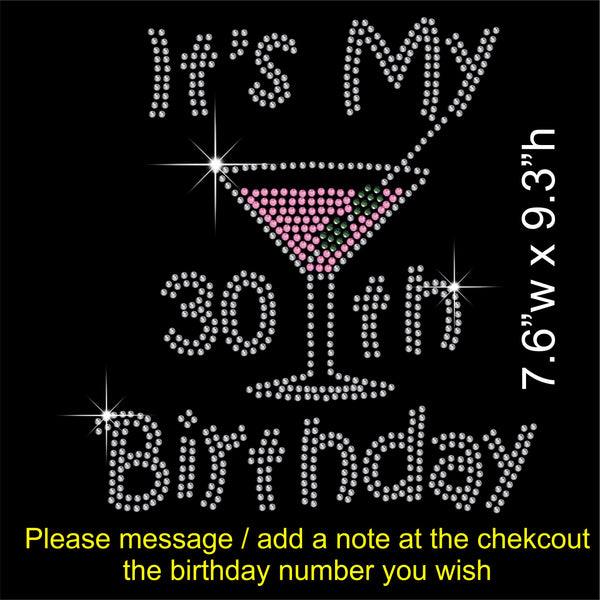 It's My 30th Birthday (or any number) Hotfix Rhinestone Transfer Diamante Motif, Iron on Applique