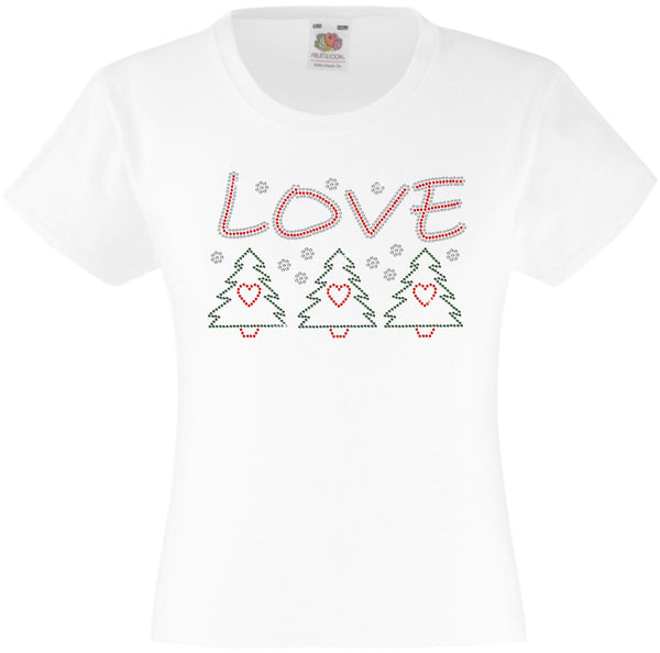CHRISTMAS LOVE RHINESTONE EMBELLISHED T-SHIRT FOR GIRLS, ELEGANT GIFT FOR CHRISTMAS